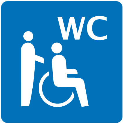 WC parzialmente accessibile in sedia a rotelle