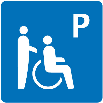 Parking place partially wheelchair-accessible
