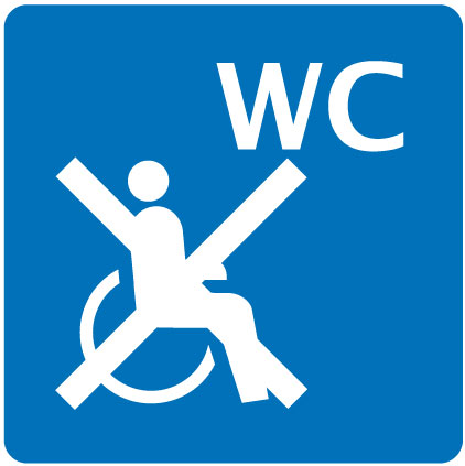 WC non accessibile in sedia a rotelle